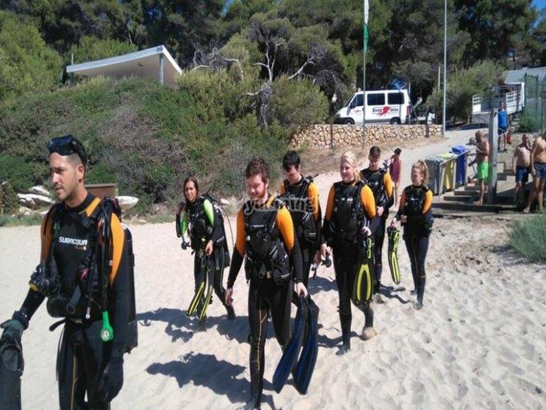 Buceadores caminando hacia la playa