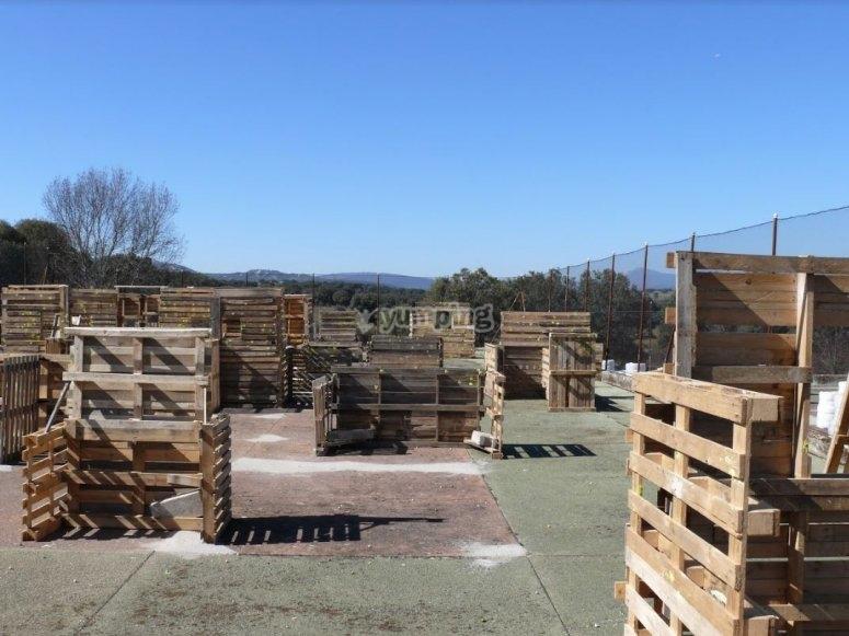 Escenario con obstaculos de madera