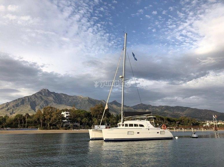 Catamaran fondeado
