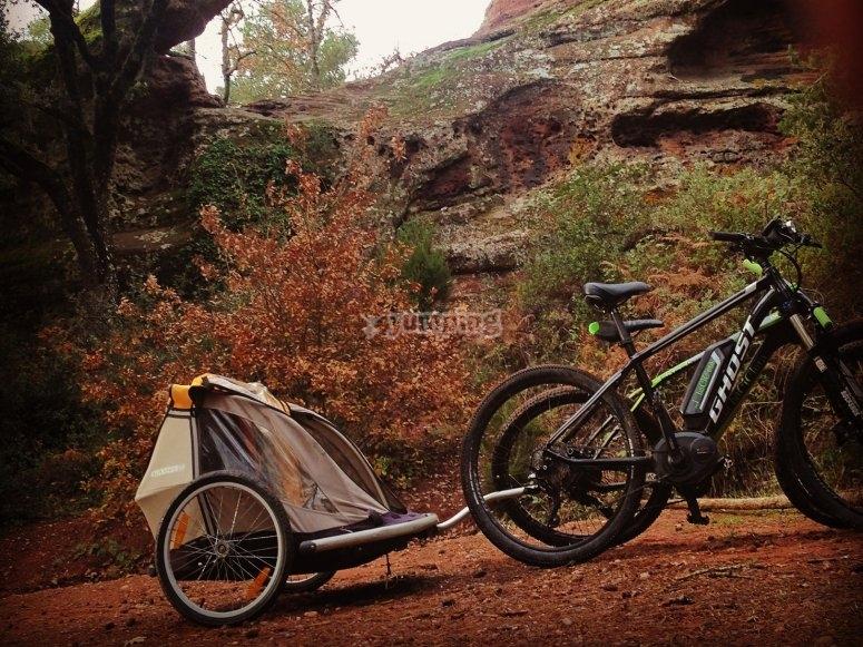 自行车拖车为孩子