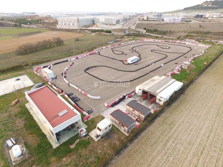 Circuito di kart Valladolid dall'aria