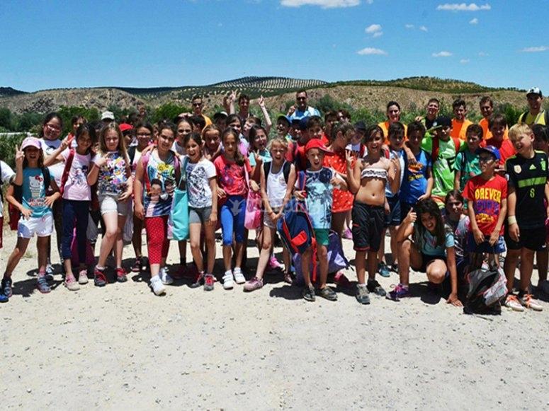 Grupo del campamento en Cuevas Bajas