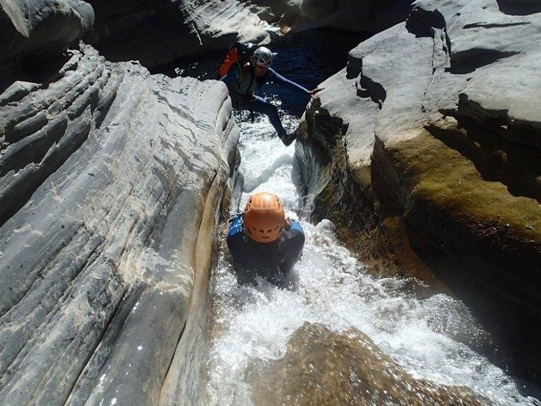 Tobogan en el barranco en Ordesa y Monte Perdido