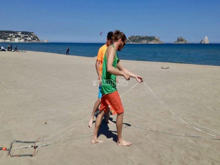 Preparando el kite