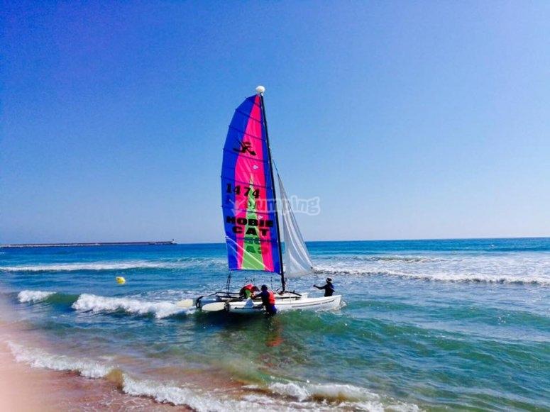 Llevando el catamaran hasta el agua