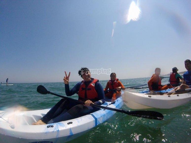 Sonriendo desde el kayak