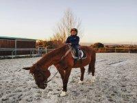Aprendiendo a montar caballos grandes