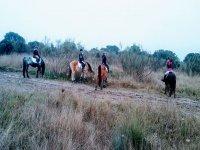 Con los caballos durante la ruta