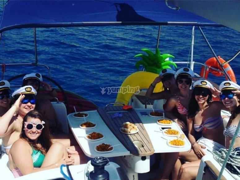 Girls celebrating the bachelorette in the boat