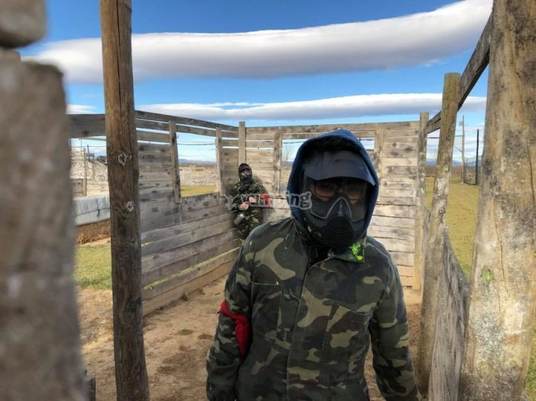 Protected thanks to the paintball mask