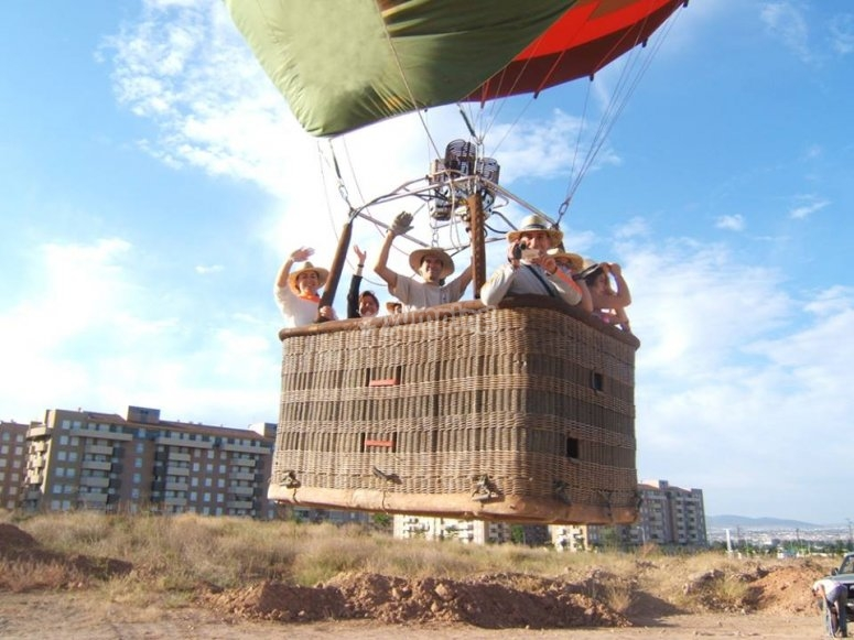 Lifting off on board the balloon