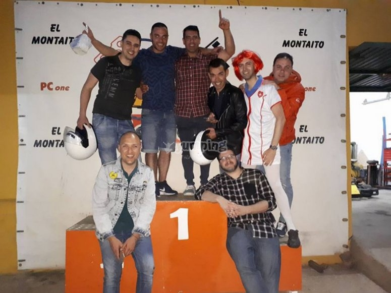 Bachelor party in the karting