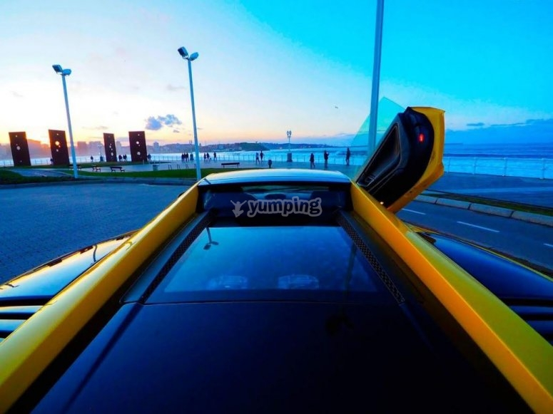 Lamborghini on the Gijon port