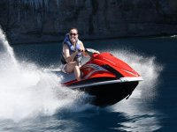 Riding a jet ski