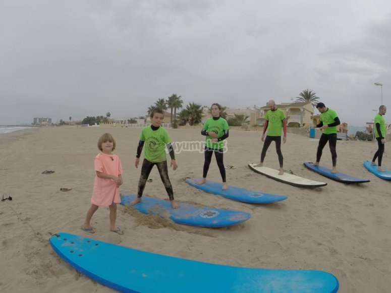 Practising surf in the beach in Valencia