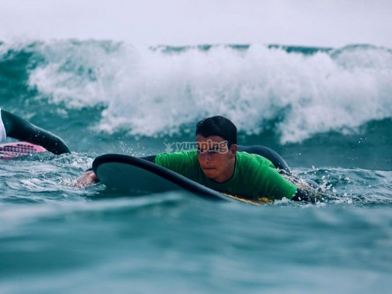 On the surfboard in Valencia