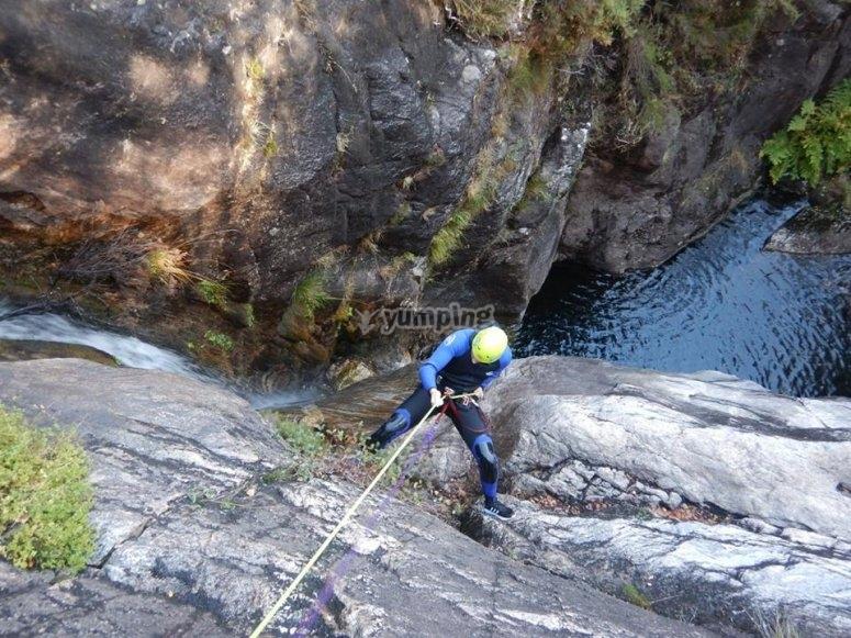 Rappel descend in the Cortella ravine