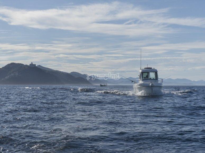 Barco pesquero en la costa