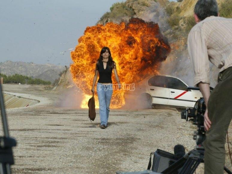Explosion en el coche simulada en Lorca
