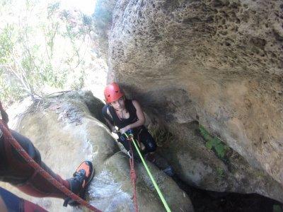 Canyoning descent in Cueva de las Palomas