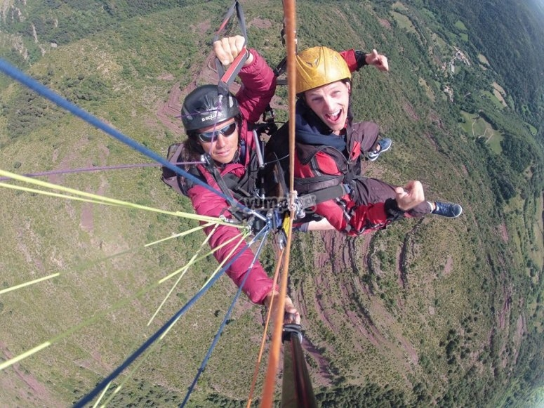 Tandem paraglide in the Pyrenees