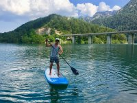 Paddling on the paddle surf board