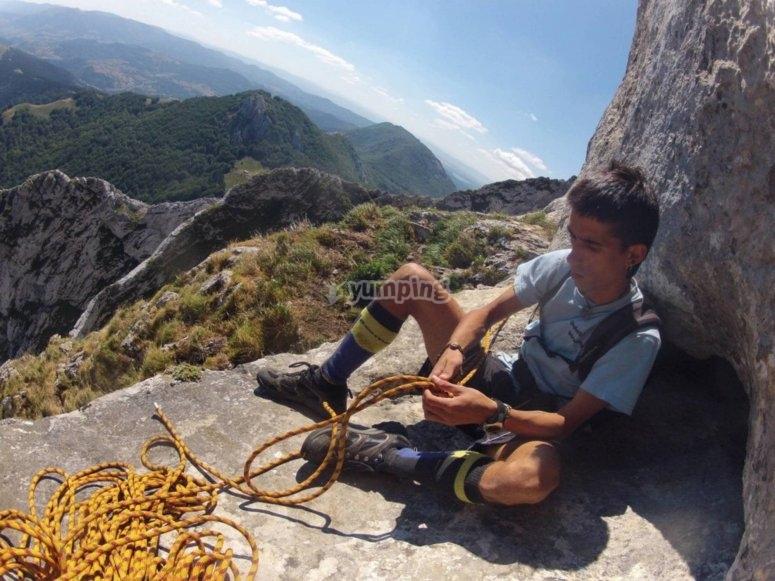 Climbing equipment ready in Urdaibai