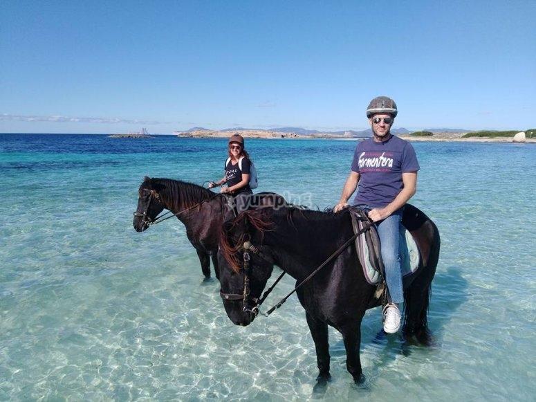 Jinete y amazona en el mar en Formentera