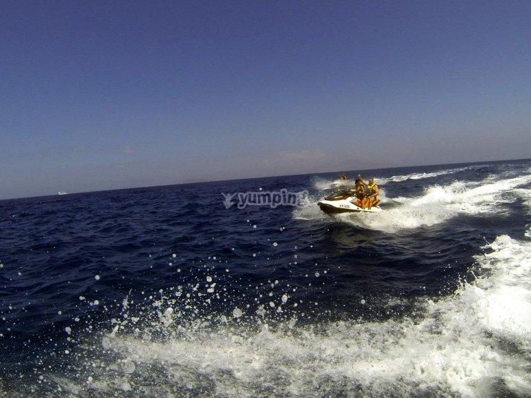 Moto nautica doble en Corralejo
