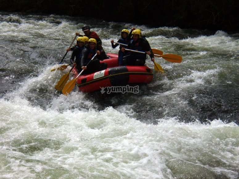 Rafting in the rapids of Gredos