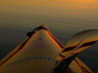 parte delantera de un kayak con una pala