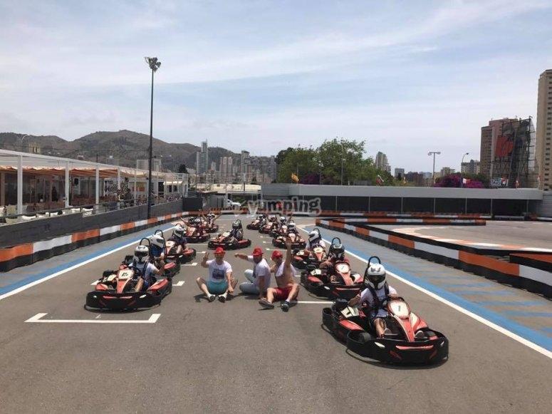 Parrilla de salida de karting en Benidorm