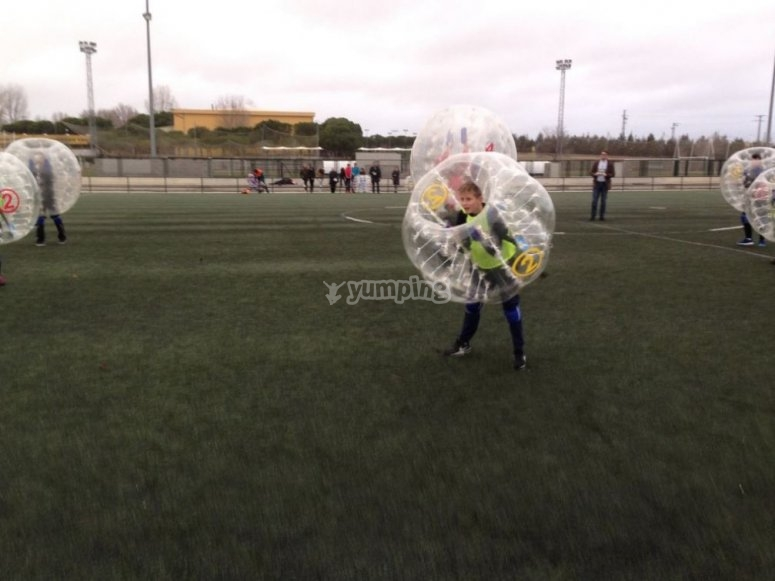 In the middle of the bubble soccer game