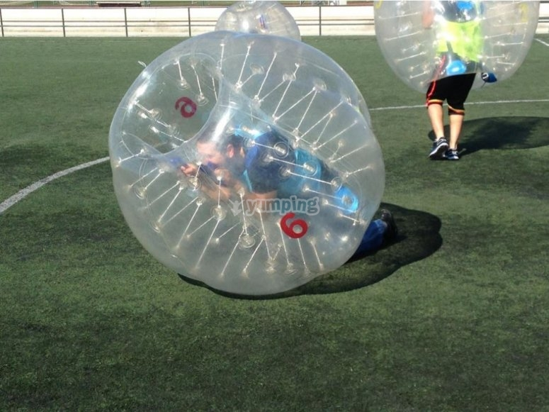 Gave fun with bubble soccer