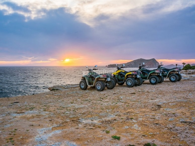 Quads in Ibiza with the sunset