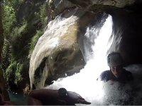 Practicing canyoning