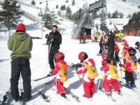 显示雪橇我们的学生愿意摆在雪地
