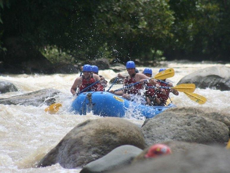 rafting raft crossing the rapids