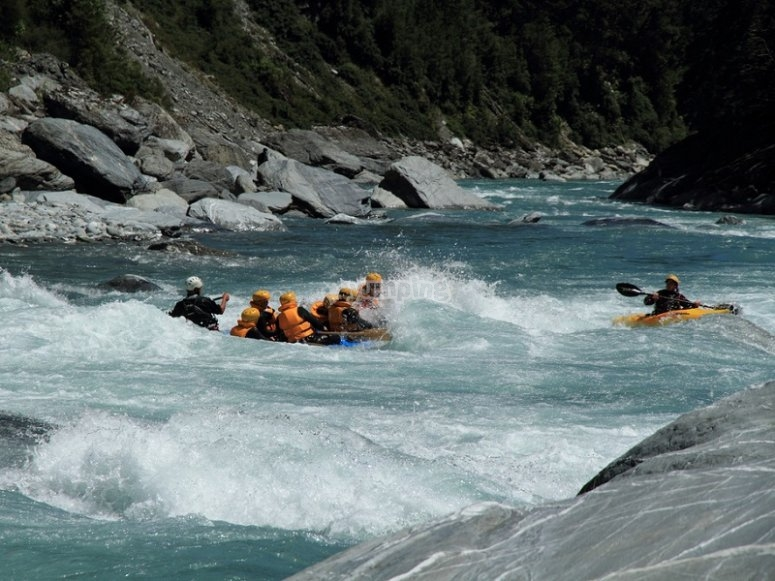 Descending the river with the raft