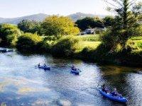 Pagaiando in canoa lungo il fiume