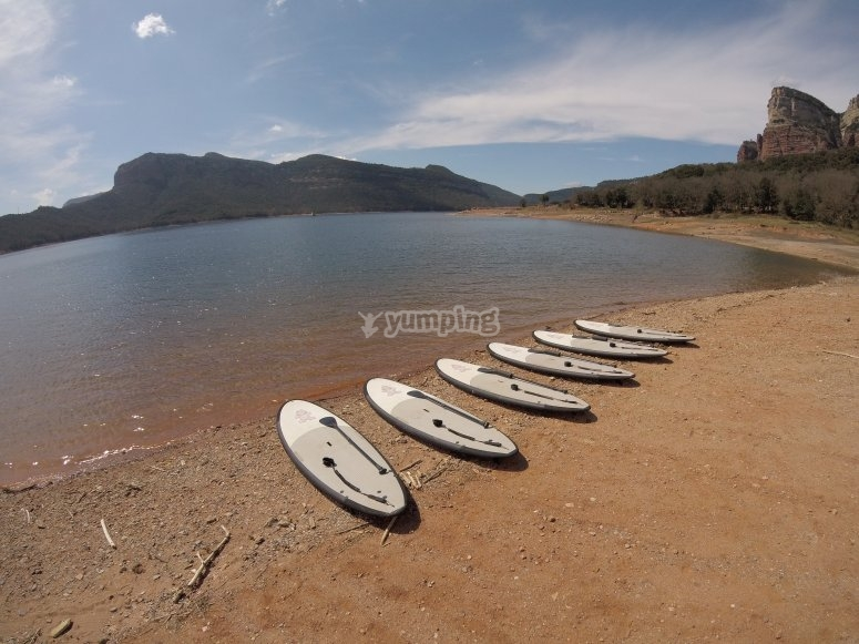 Surfboards prepared to exit