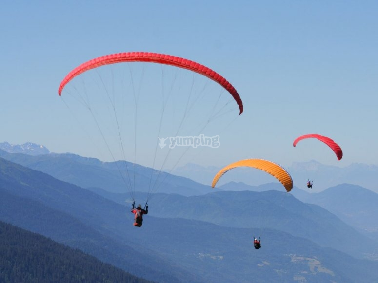 Paraglides in groups