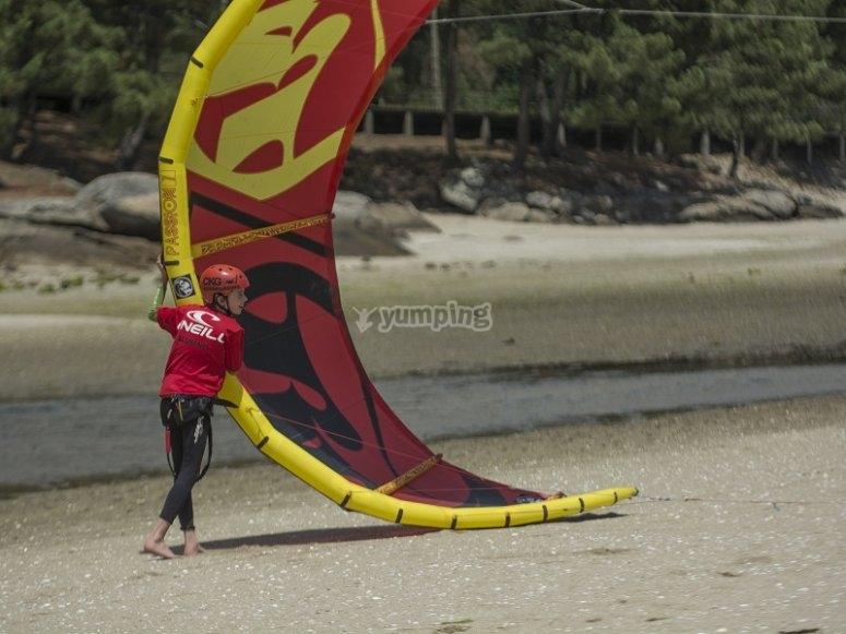 Curso de kite en la playa