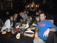 Group of friends dinning in the extreme unction room
