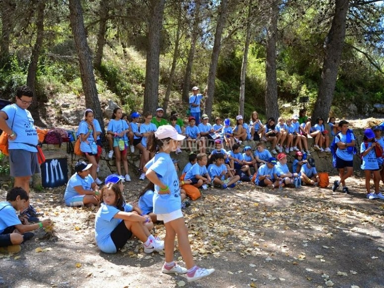Group resting among the trees camp Castellon