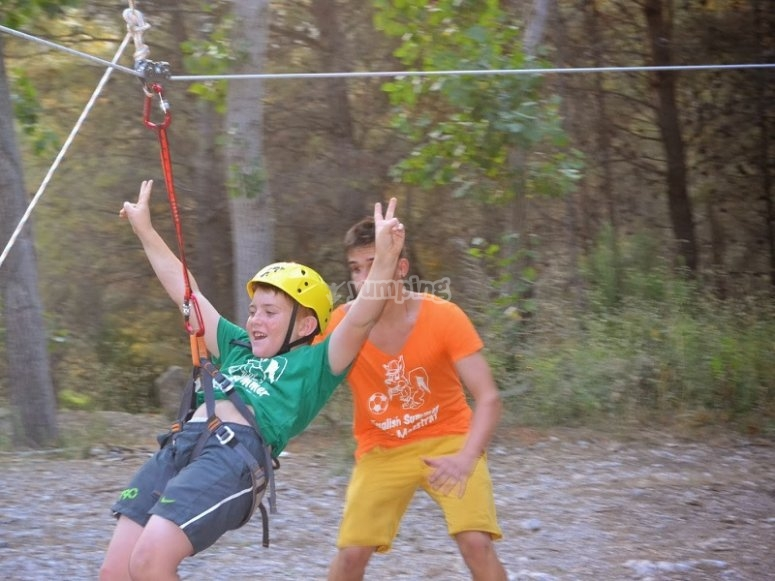 Zip-lining in the camp