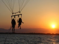 parasailing with the sunset