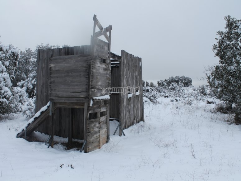 Trenches in the snowy paintball field in La Alcarria