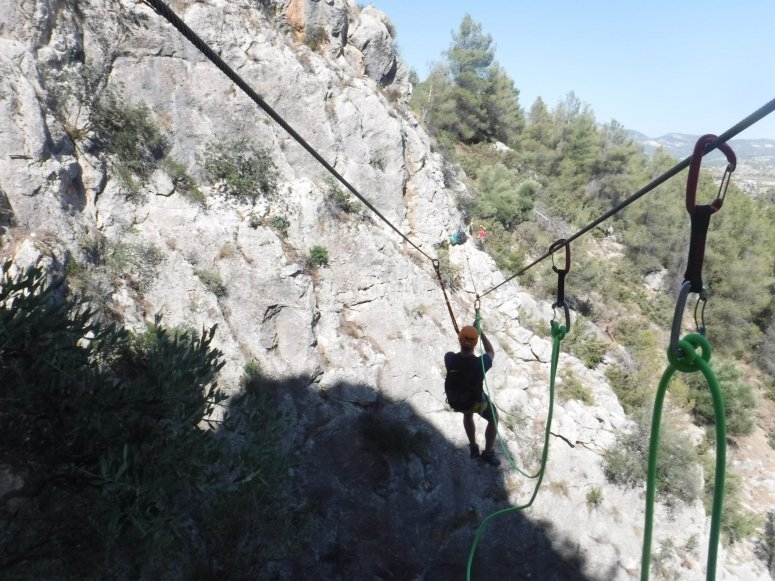 Climbing the wall of the via ferrata