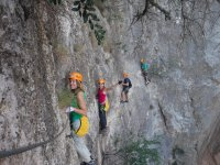 Carrying out the via ferrata of Ciervo